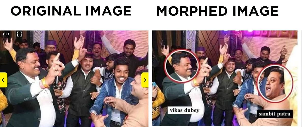 Fact-Check: That Photo of Sambit Patra With Vikas Dubey is Morphed