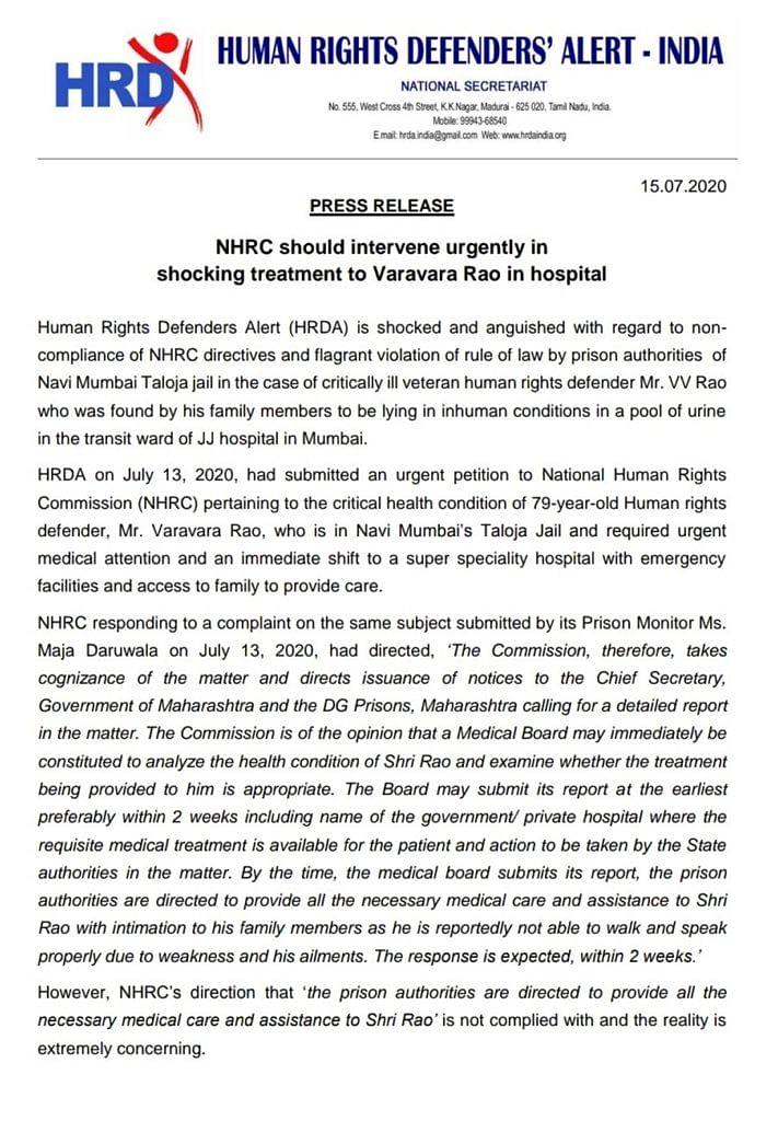 Press statement on Varavara Rao's health condition
