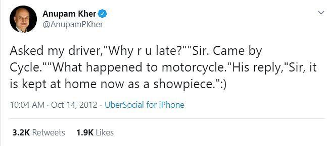 Anupam Kher's tweet in 2012.