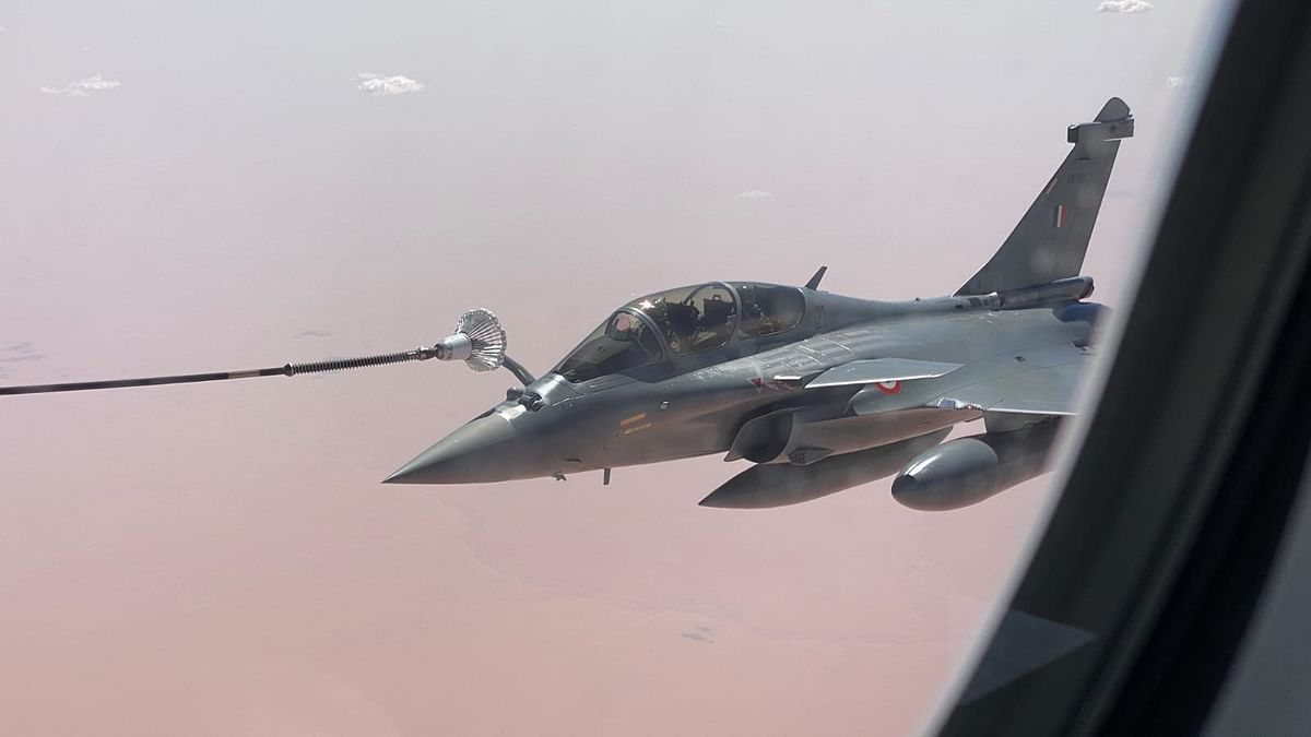 The IAF on Tuesday shared pictures of the aircraft en-route India.