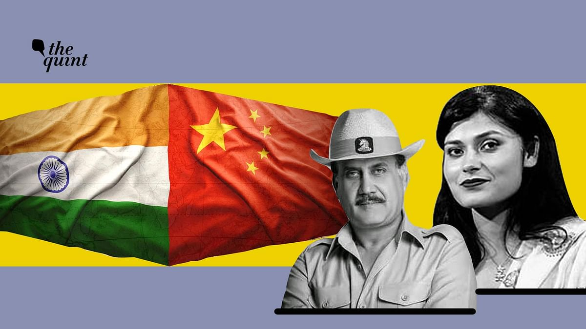Image of Lt Gen (Retd) AK Singh (L) and Nishtha Gautam, Senior Editor, Opinions, The Quint, used for representational purposes, along side flags of India & China.