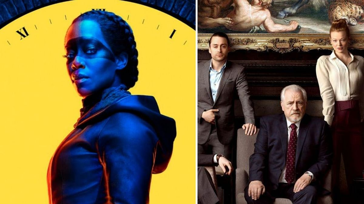 Stills from Watchmen and Succession.