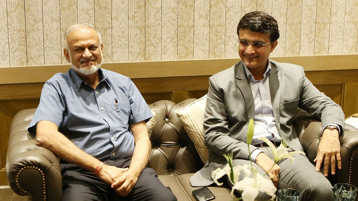 Indian Premier League (IPL) Chairman Brijesh Patel with BCCI President Sourav Ganguly.