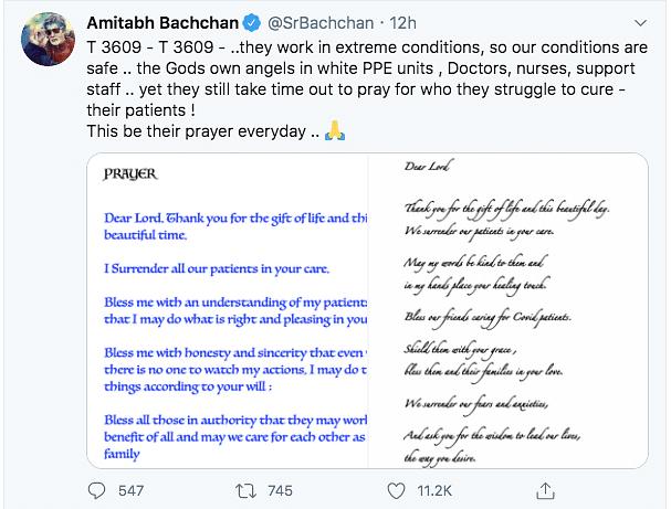 Amitabh Bachchan applauds healthcare workers.
