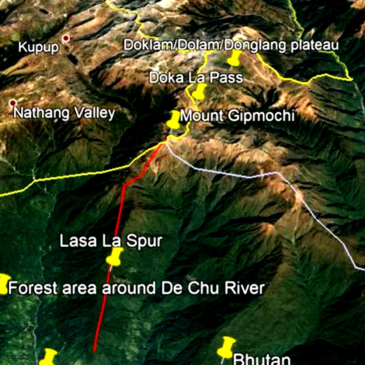 Map showing the location of Mount Gipmochi.
