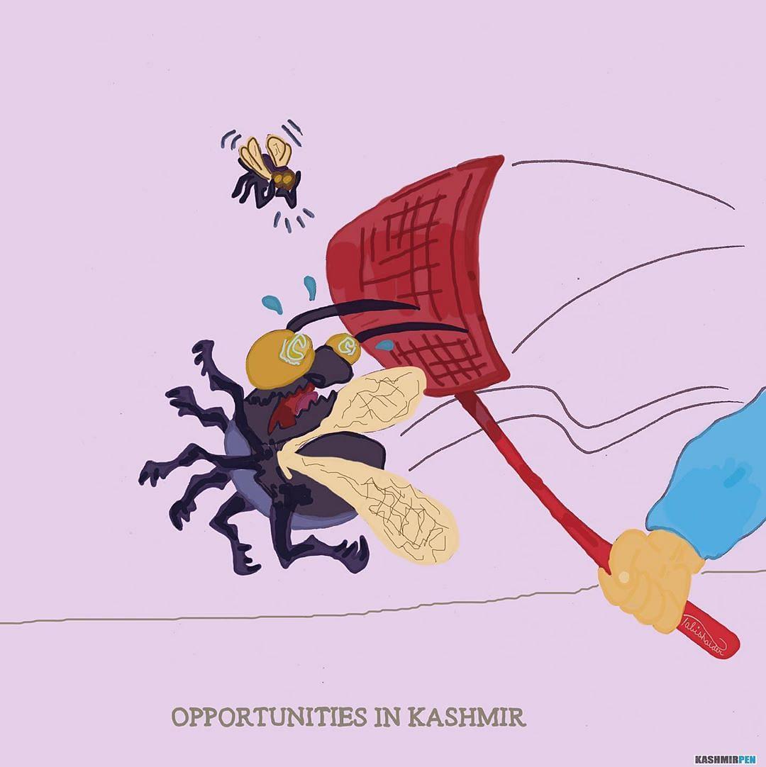 Tabish also makes cartoons for Kashmiri newspaper 'Kashmir Pen'