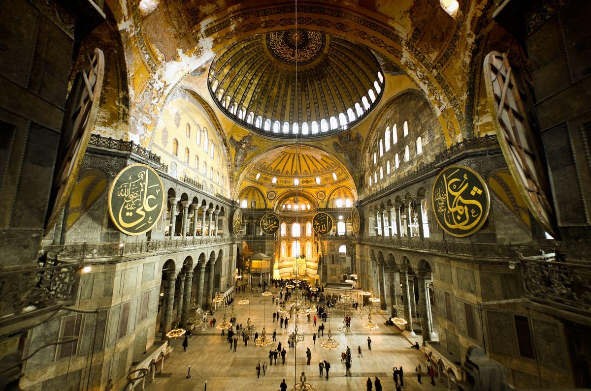 The interiors of Hagia Sophia.