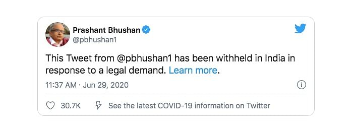 Twitter Withholds  Prashant Bhushan's Tweets That Caused SC Ire