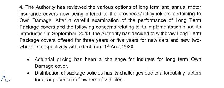 The new mandate for motor insurance issued by the IRDAI.