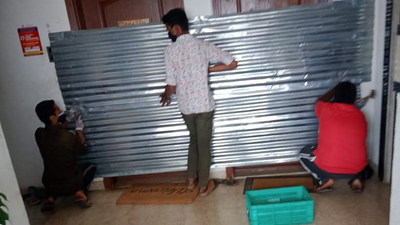BBMP Officials Seal Apartment Doors with Metal Sheets in Bengaluru