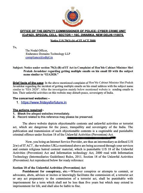 The notice issued by the Delhi Police under IT Act which mentions Section 18 of the UAPA Act.