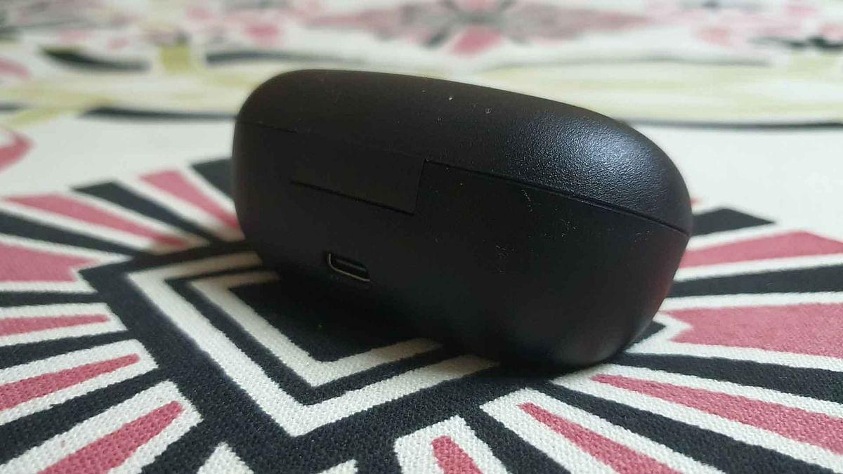 The earphones charge via USB type-C.