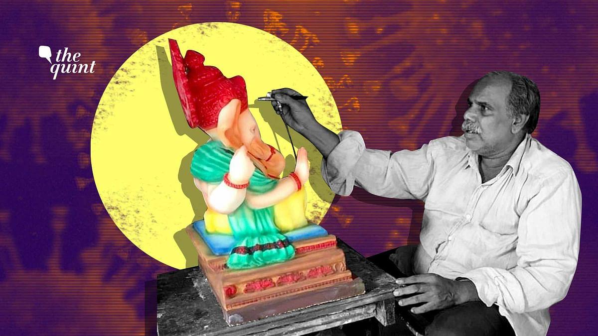 File picture of idol maker Prakash Pednekar adding finishing touches to a clay idol.