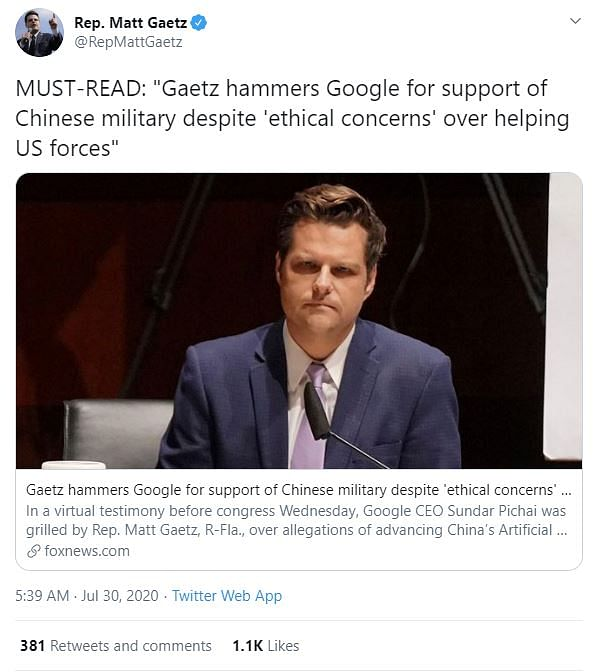 Rep. Matt Gaetz grilled Pichai over allegations of advancing China's AI.