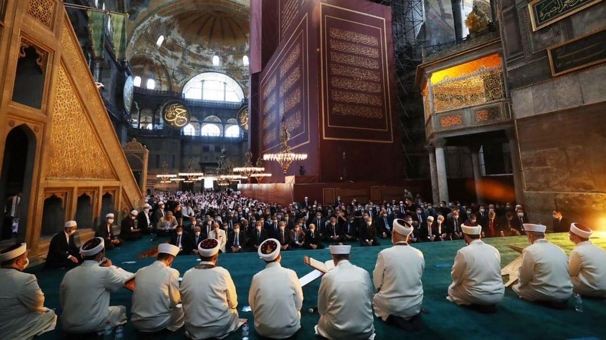 Prayers being held inside Hagia Sophia