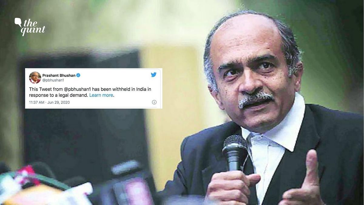 "The tweets of senior advocate Prashant Bhushan, which were the basis for the <a href=""https://www.thequint.com/news/india/truth-hurts-people-react-to-sc-notice-to-prashant-bhushan"">contempt notice against him by the Supreme Court</a>, have been withheld by Twitter even though there is no order to that effect from the top court."
