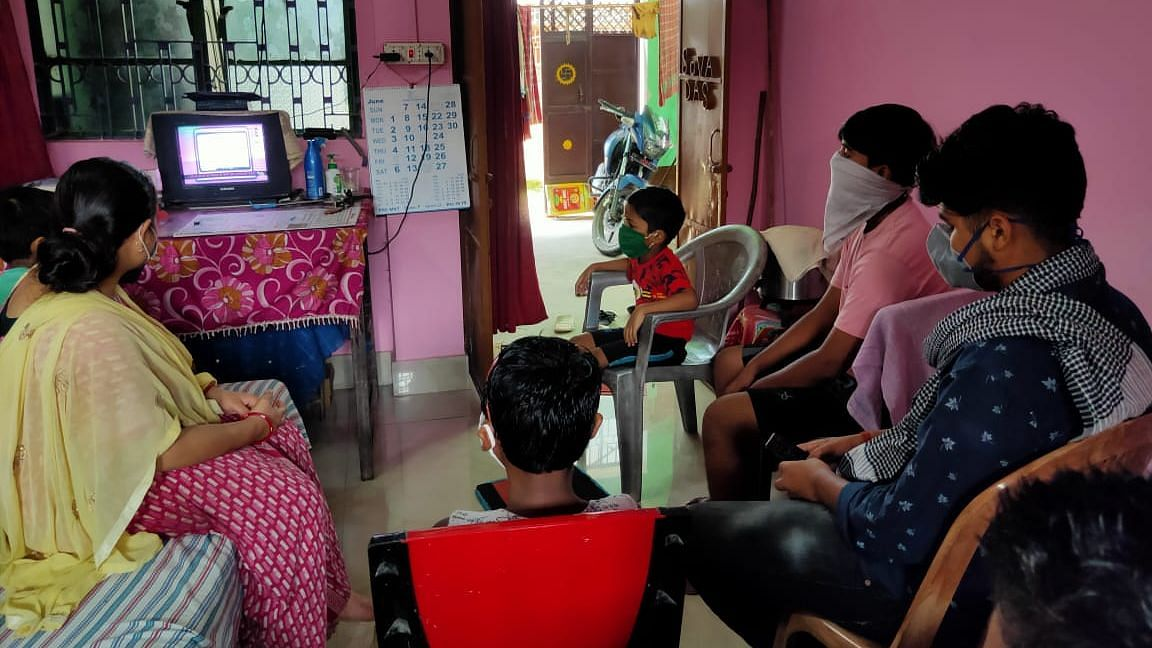 A family gathers to watch School TV