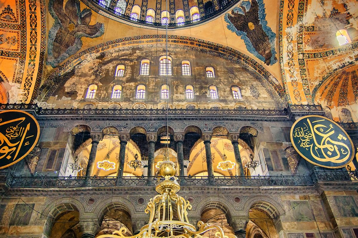 The dome from inside the Hagia Sophia.