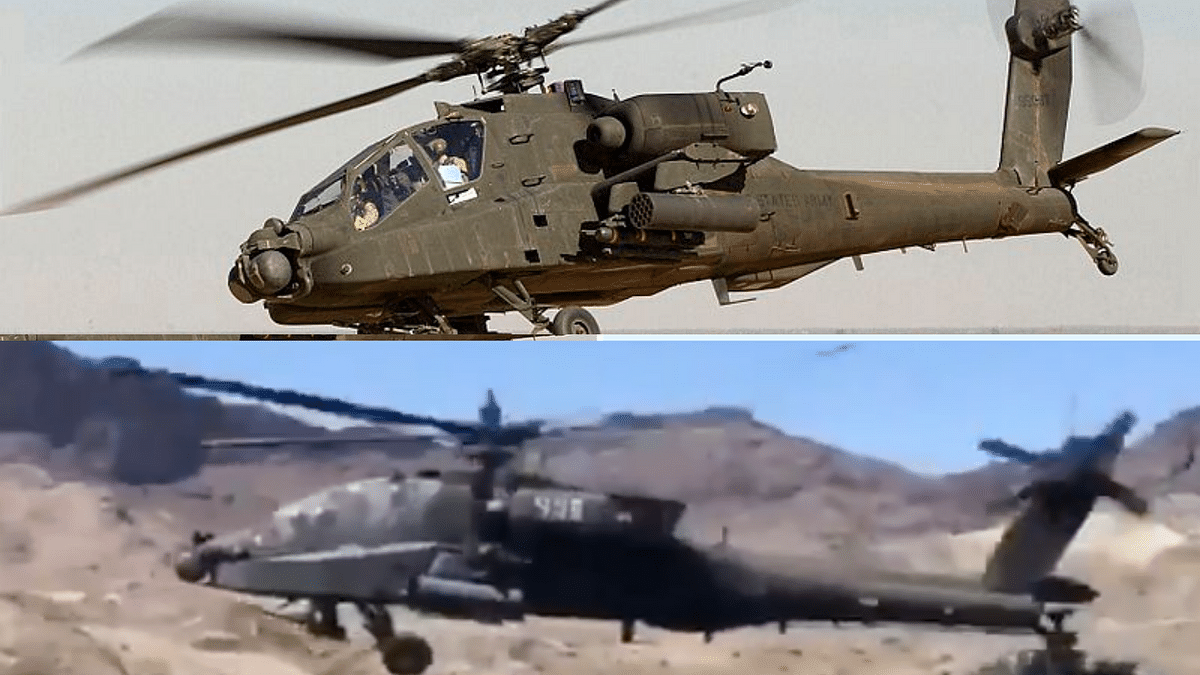 Picture of Apache Ah-64 from Wikipedia (top); picture of chopper from viral video (bottom)