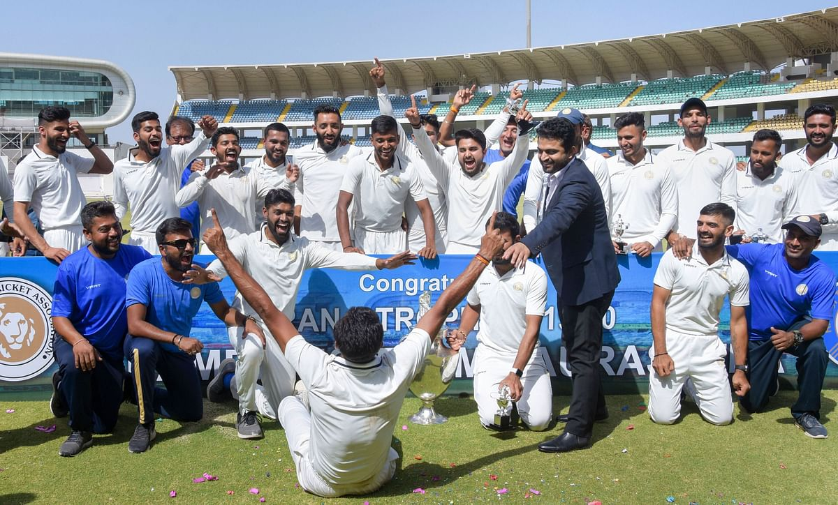 Saurashtra players celebrate after winning the Ranji Trophy final against Bengal in Rajkot, Friday, March 13, 2020. There has been no domestic cricket in India since this match.