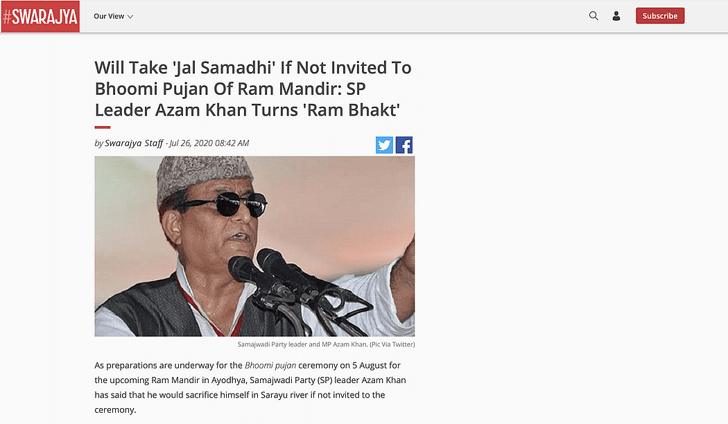 A statement made by the national president of Muslim Karsevak Manch was falsely attributed to SP leader Azam Khan.