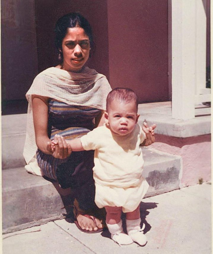 A picture of young Kamala with her mother, Shyamala Gopalan Harris.