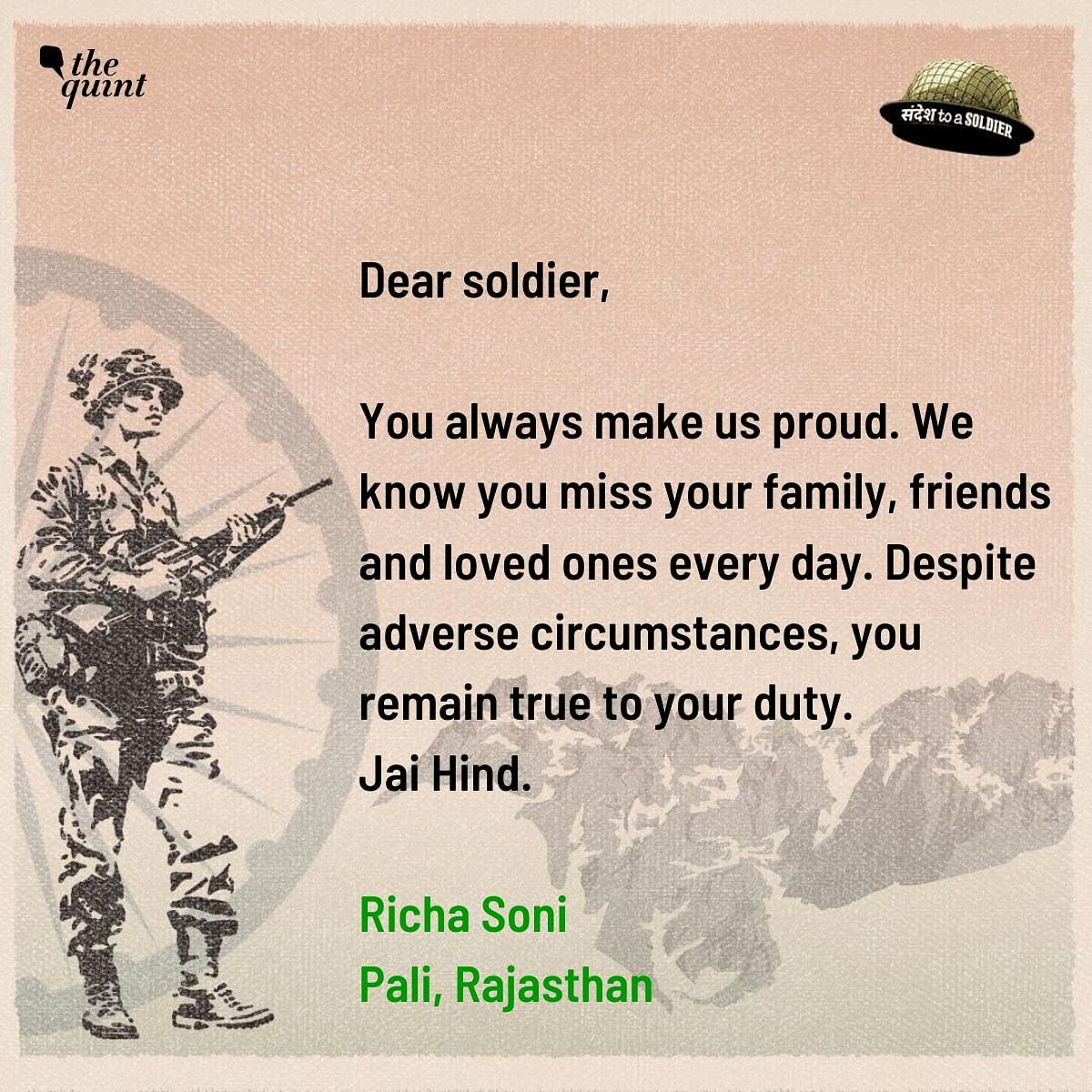 Richa Soni from Rajasthan sends her sandesh to a soldier.