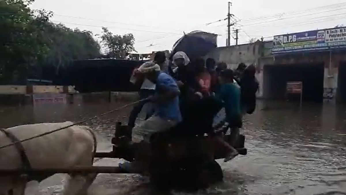 Heavy rains lead to waterlogging in Delhi and adjoining areas.