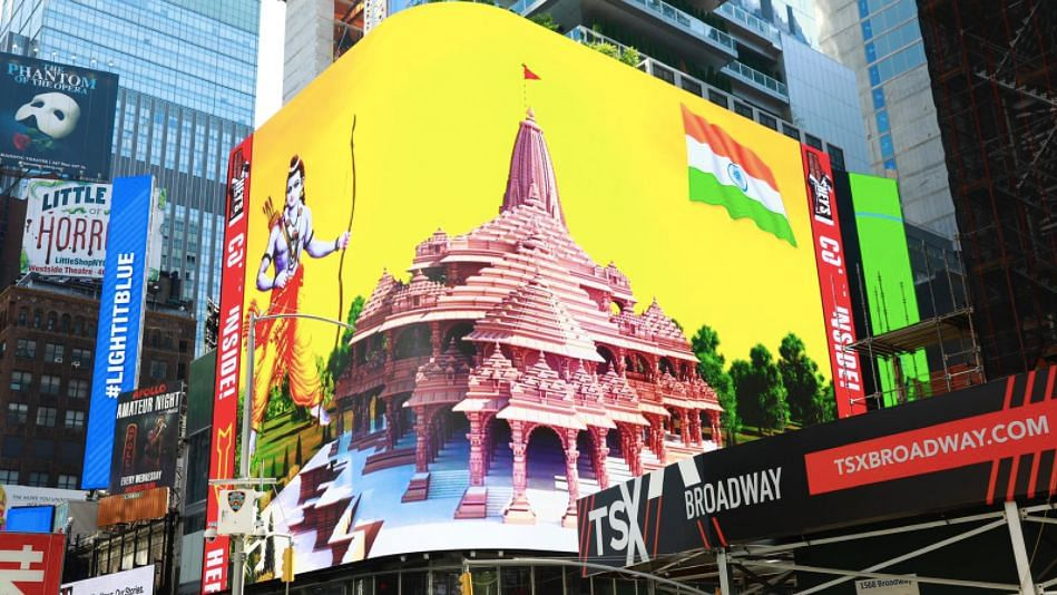 Ram Mandir Visuals Displayed on Billboard at Times Square, NY