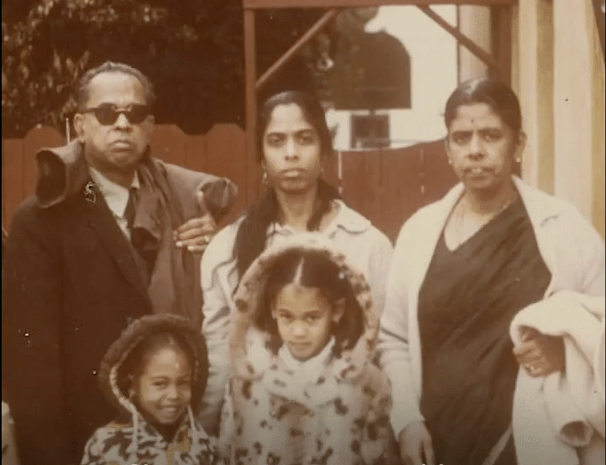 Kamala Harris with her sister Maya Harris, mother Shyamala Gopalan Harris and grandparents PV Gopalan and Rajam.