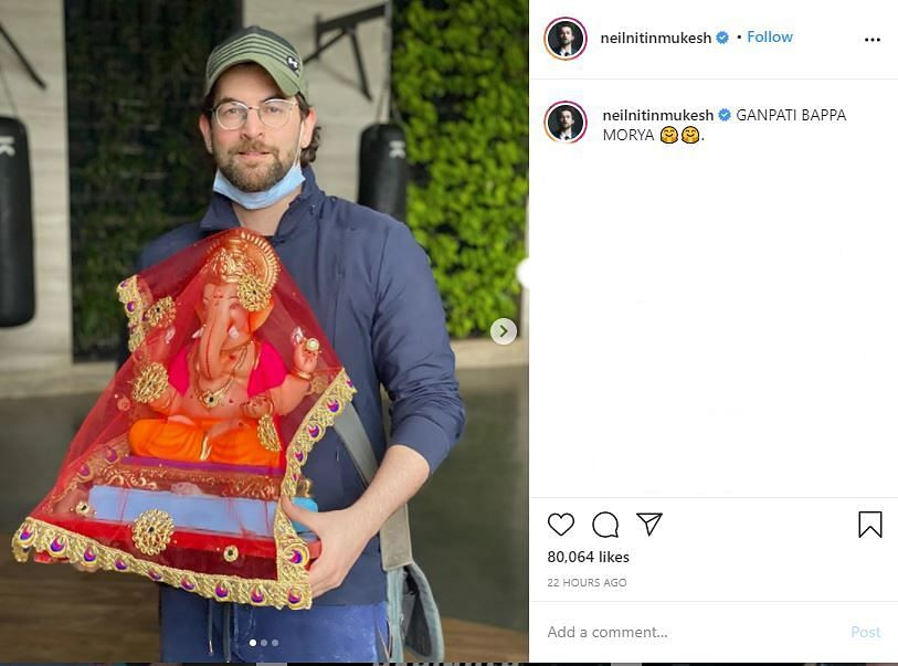 Actor Neil Nitin Mukesh with a lord Ganesha idol.