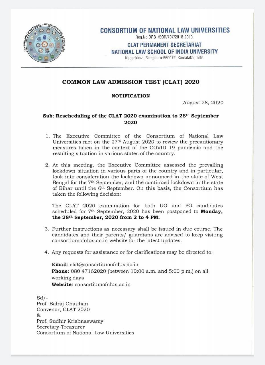 Consortium of National Law Universities notice regarding postponement of CLAT 2020.