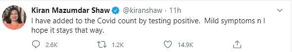 Biocon Chief Kiran Mazumdar Shaw Tests COVID-19 Positive