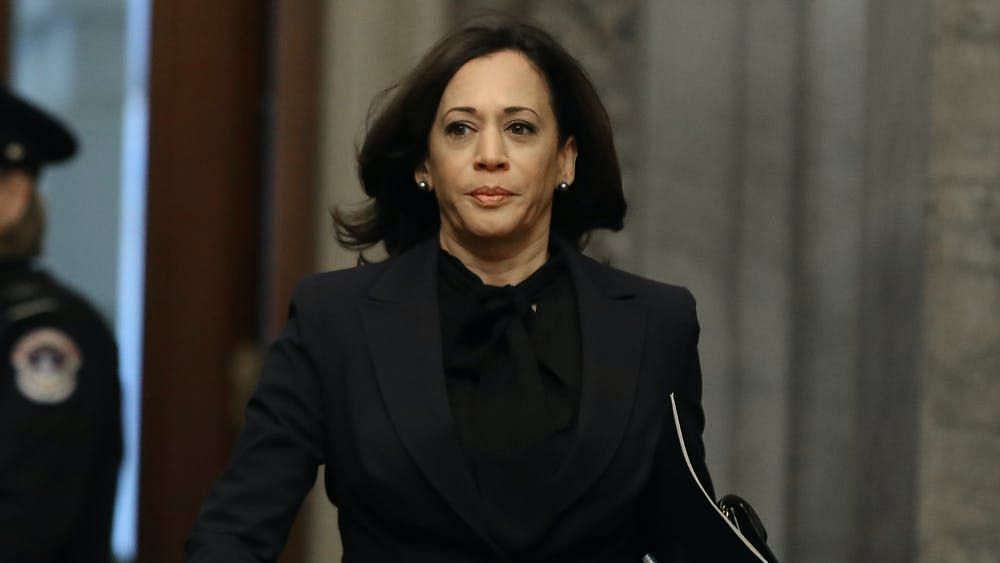 Sen. Kamala Harris, arriving at the U.S. Capitol for the Senate impeachment trial of U.S. President Donald Trump, on 31 January  2020.