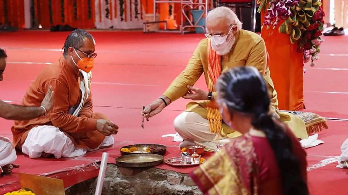 PM Modi performs 'Bhoomi Pujan' for the Ram Temple in Ayodhya on Wednesday.