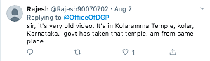 A Twitter user mentioned that the incident is from Kolaramma temple in Kolar.