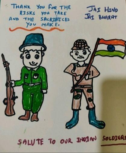 Dear Soldier, Jai Hind: Children Draw Their Sandesh To A Soldier