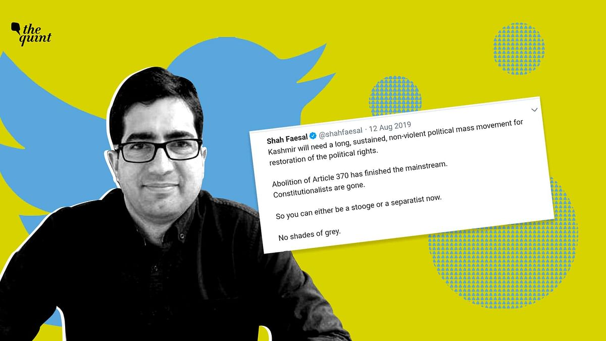 Shah Faesal announced his decision to quit politics on Monday, and deleted his previous tweets from his handle.