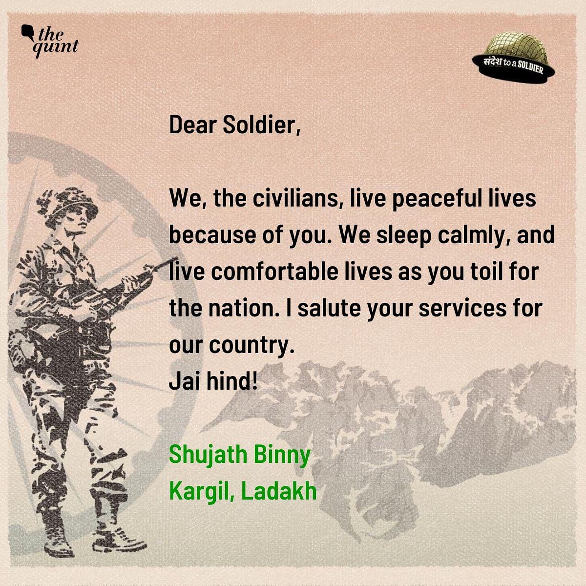 Shujhath Binny from Ladakh sends his sandesh to a soldier.