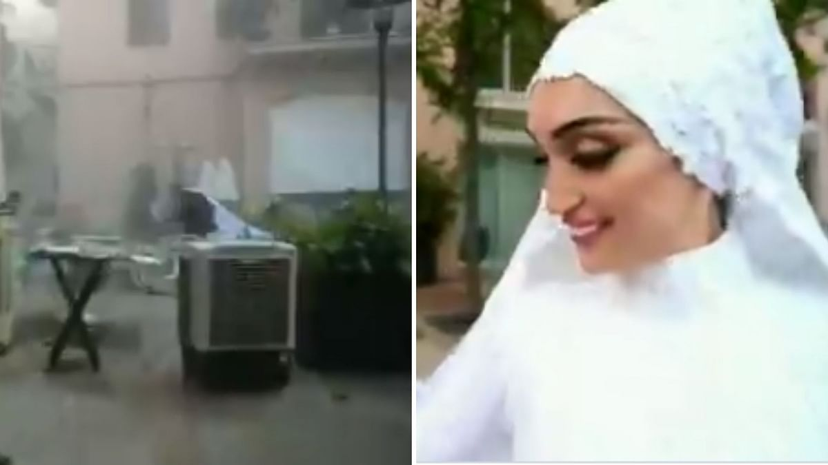 Watch: Bride's Wedding Shoot Disrupted By Beirut Blasts