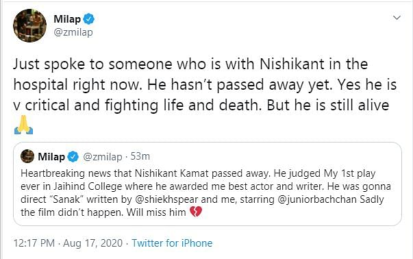 Milap Zaveri, Riteish Confirm Nishikant Kamat Is on Life Support