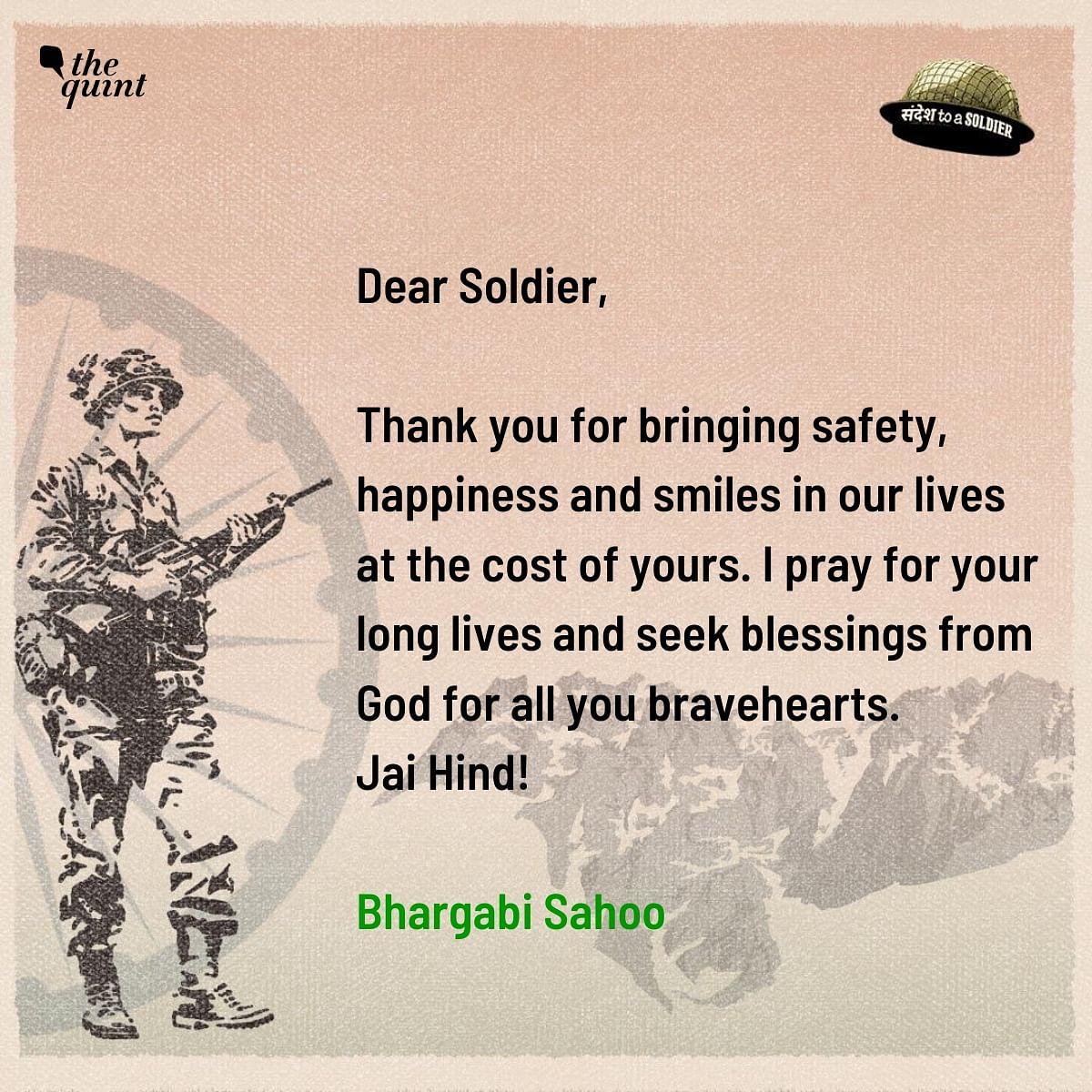 Bhargabi Sahoo sends her sandesh to a soldier.