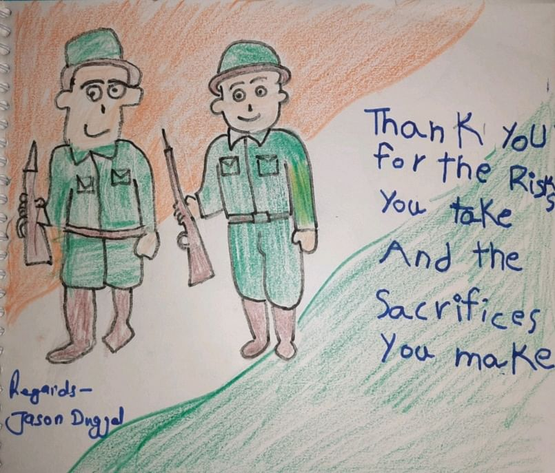 Jason Duggal sends his sandesh to a soldier.