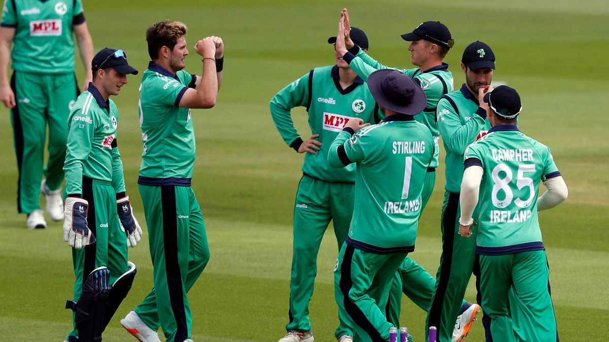 Ireland players celebrate a wicket during the 3-match ODI series against England.