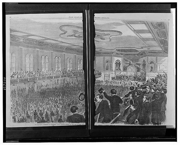 An engraving of the 1860 Democratic convention in Charleston, South Carolina.