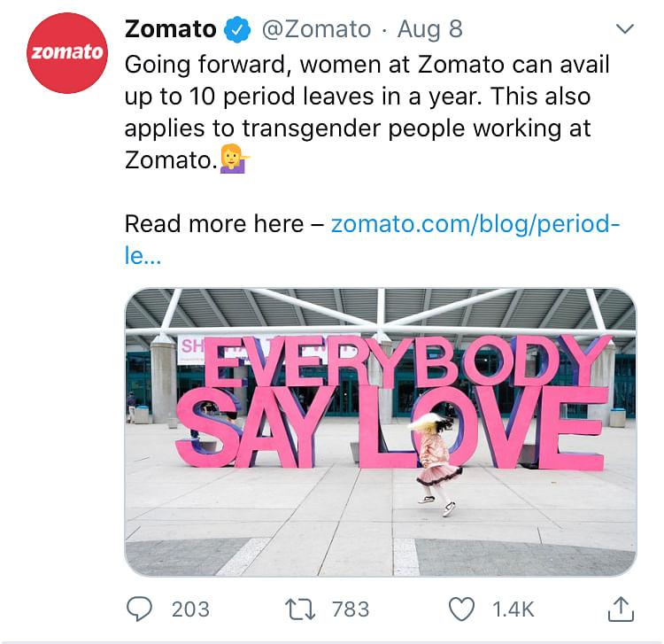 Zomato Introduces Period Leave of Up to 10 Days for Employees