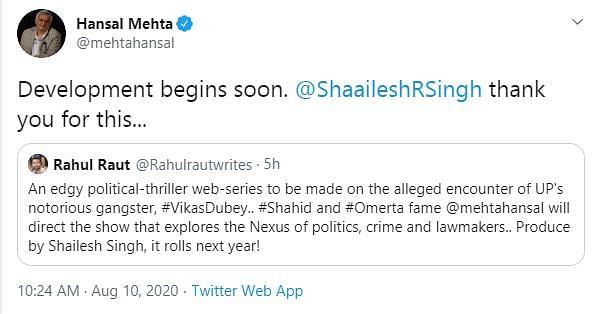 Hansal Mehta to Direct a Web Series on Gangster Vikas Dubey