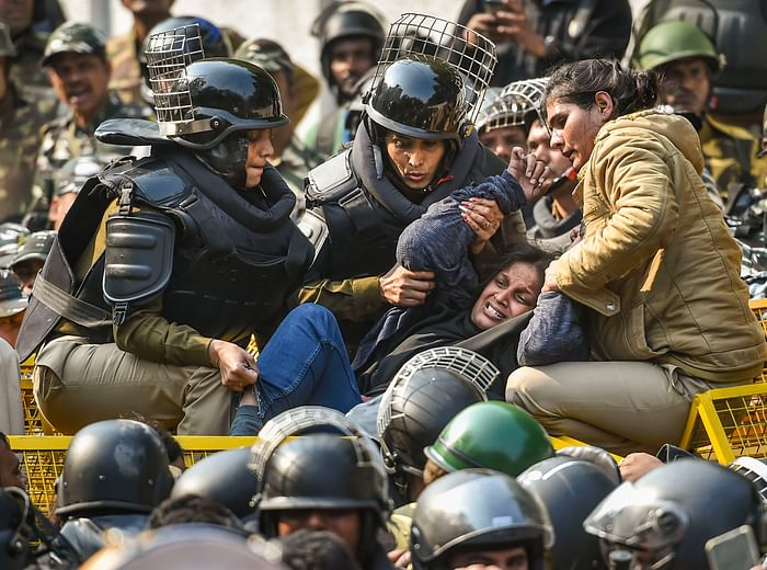 File image of anti-CAA protesters being stopped by police near Jamia campus on 10 February.