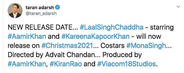 Aamir-Starrer 'Laal Singh Chaddha' to Release on Christmas 2021