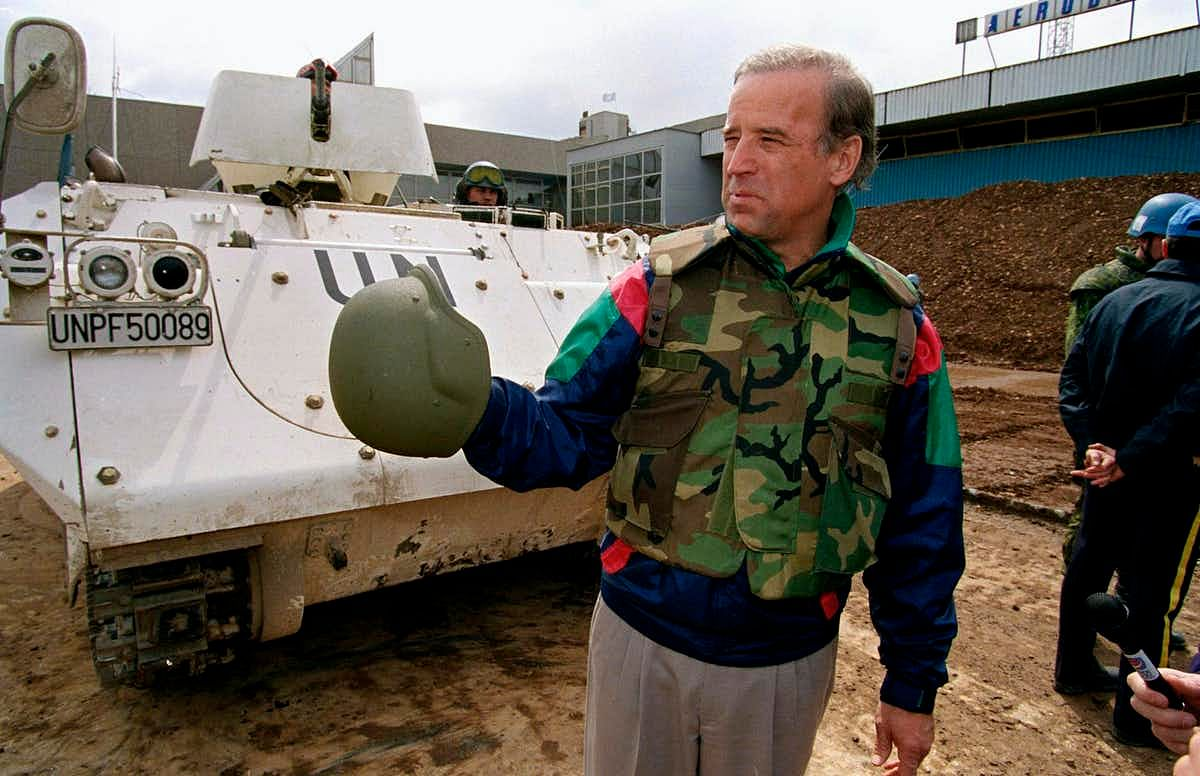 Sen. Biden in Bosnia in 1993. He wanted the U.S. to intervene in the war there.